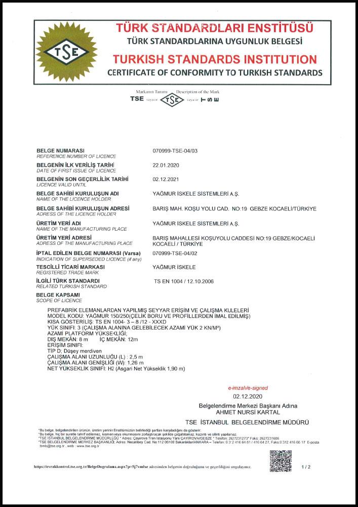 TS EN 1004 - CERTIFICATE